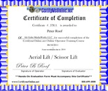 Peter roof education for Scissor lift certification card template